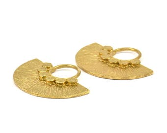 Semi Circle Pendant, 2 Raw Brass Semi Circle Pendants (32x25mm) N392
