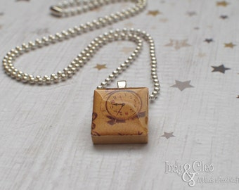 Alarm Clock Scrabble Necklace, Handmade Scrabble Tile Art Pendant, Wood Tile Pendant, Clock Jewelry, Upcycled Wood Game Piece, Tiny Jewelry
