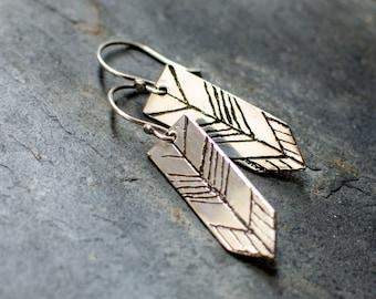 Sterling Silver stud earring, engraved arrow, chevron, minimalist, tribal, ethnic earring