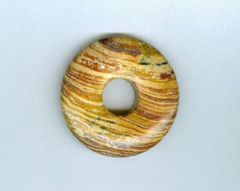 40mm Brown Donut, 40mm Brown and Cream Swirly Gemstone PI Donut Focal Pendant 622T