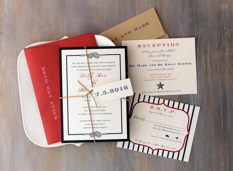 Fourth of July Wedding Invitations Summer Wedding
