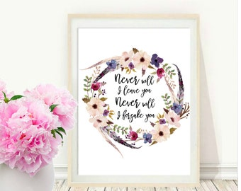 Scripture Art, Never Will I Leave You, Hebrews 13 5, Printable Art, Christian Print, Inspirational Print,  Wall Decor, instant download