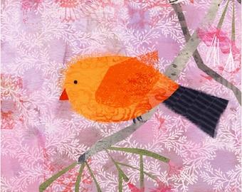 "Collage Bird Archival Print (Orange) 8""x10""  Wall Art - Art Poster"