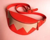 Leather fanny pack, two colored belt bag, leather bag, la lisette hip bag, bumbag, waistbag