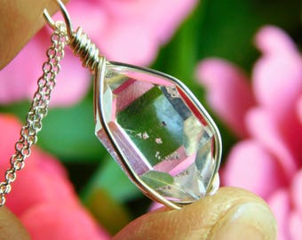 Natural NY HERKIMER DIAMOND Double Terminated Quartz Crystal Pendant Sterling Silver Crystal Pendant Healing Metaphysical Top 10 Gifts