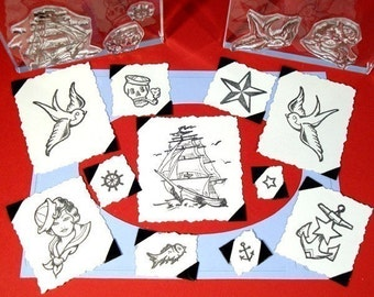 Sailor's Tattoo Set Clear Polymer Rubber Stamps swallows ship anchor star