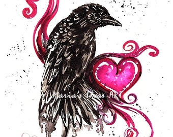 Crow art, Crow Darling, Heart, Valentine, Raven, Black Bird print,  Marias Ideas