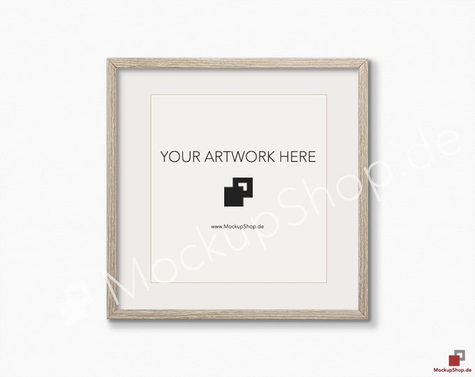 SQUARE MOCKUP FRAME on structure white wall, Frame Mockup, Amazing brown photo frame mockup, Digital Download Square Frame Mockup