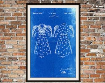 Blueprint Art of Patterned Dress 1940's Vintage Technical Drawings Engineering Drawings Patent Blue Print Art Item 0066