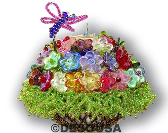 The Flower Basket Beaded Ornament Cover