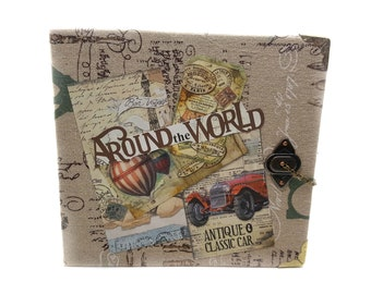 "Mini Album ""Around the World"", Photo Album Anniversay Gift, Birthday Gift, Holiday Gift, Easter Gift"