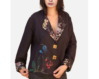 Linen jackets/ short Vests /Black women outerwear/Women clothing/art painted tops