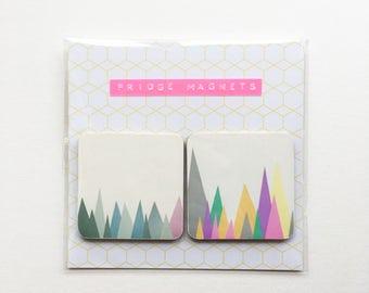 Square Wood Mountain Fridge Magnets - Mountain Peaks