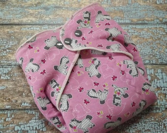 Organic Cotton Winged Prefold-- Little Pink Zebra Cloth Diaper Sized