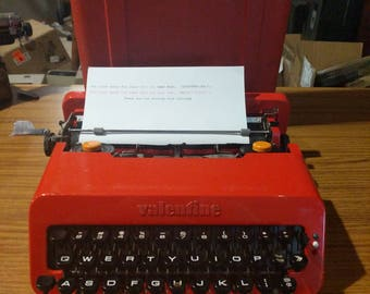 1970 Red Olivetti Valentine portable manual typewriter with case