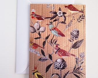 Birds + flowers birthday card, birds  card, bird lovers card, illustrated bird card,  birthday card for her, love birds card, queen birds