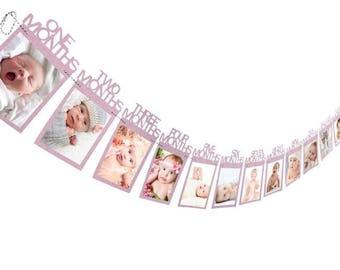 PINK First Birthday Photo Banner, 1st Birthday First Year Banner, 12 Month Banner, Monthly Photo Banner, Picture Banner, 1st year banner