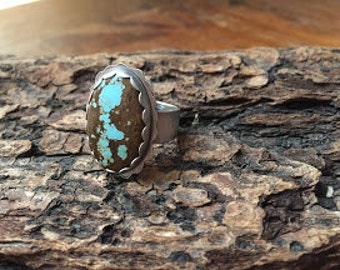 Turquoise Ring Number 8 Mine size 8.75 - Silversmith - Metalsmith Jewelry