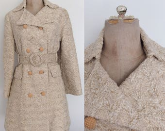 1960's Textured Woven Belted Ivory Coat Mod Retro Vintage Coat Size Small Medium by Maeberry Vintage