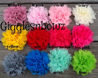 SiNGLE Shabby Frayed Chiffon CARNATION Flower- 3 inch choose your color