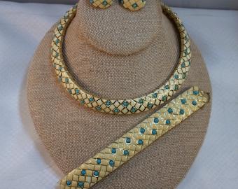 Ciner Enameled Checker Board Demi Parure Necklace, Bracelet and Clip Earring Set, 1950's - 1960's