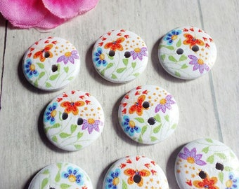 8 buttons round colorful flower pattern