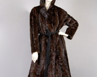 Breathtaking Vintage Glossy Mahogany Ranch Mink Fur Coat BB Pelsen