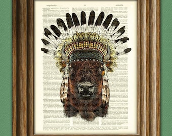 The Buffalo Warrior American Indian dictionary page art print