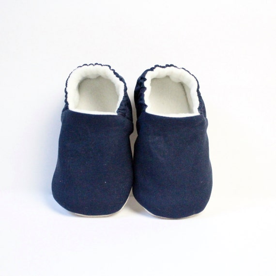 Navy Blue cotton baby moccs unisex