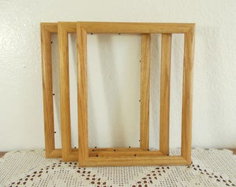 Vintage Solid Wood Picture Frame 10 x 13 Photo Decoration Mid Century Man Cave Natural Country Western Home Decor Gift Him Her