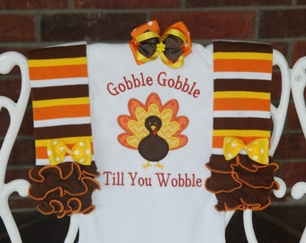 Baby Girl 1st Thanksgiving Outfit/ First Thanksgiving outfit for baby girl/ Thanksgiving turkey outfit/Gobble til you wobble outfit/girls