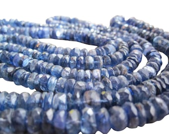 Kyanite Beads, Faceted Rondelles, Blue Kyanite Rondelles, SKU 3274A