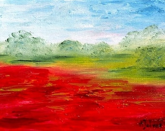 Poppy art Original landscape oil painting Poppy painting Landscape painting Oil painting Poppy flower painting Poppies art Poppy décor 6x8""