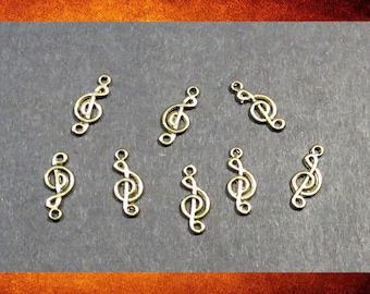 Components - 8 Gold Brass Clef Note Connectors for jewelry making. #PEN-045