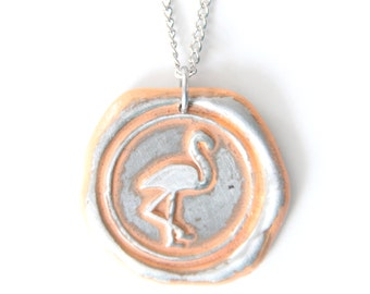 flamingo wax seal stamped necklace by Ritzy Misfit