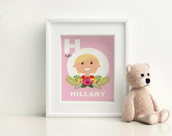 Nursery Wall Art- Hillary Clinton - H is for Hillary