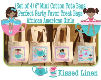 African American Little Girl Tea Party Birthday Treat Favor Gift Bags Mini Cotton Totes Kids Guests Tea Party Favor Gift Bags