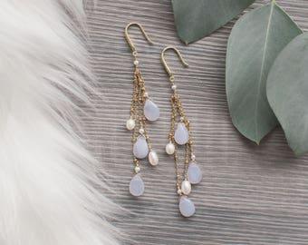 Long Blue Chalcedony Earrings, 14kt Gold-Fill Gemstone Earrings, Blue and Gold Earrings, Something Blue