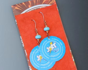 Bottle cap earrings. Jolt cola. Reuse. Recycle. Upcycle.