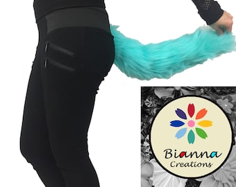 "Kawaii Teal Blue Faux Fur Animal Cosplay Tail, Size 15 20 25 30 35 "", Anime Convention Rave Costume Gear, Furry Fuzzy Accessory Idea"