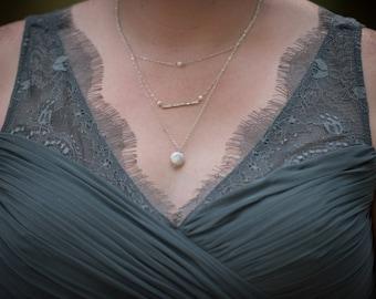 Brautjungfern Schmuck - Schichtung Kette - Perle und Sterling Silber - Kette Multi-Strang - Hochzeit Schmuck