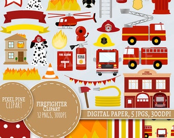 Firefighter Clipart Set, 32 PNGs, 5 Fire fighter Digital Paper JPGs, Commercial Use, Fireman clipart, fire truck clip art, fire engine pngs