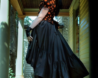 "Steampunk Skirt - Adult Halloween Costume - Pirate Witch- Bustle Pulls in Cotton- ""Ellis Style"" Custom to order"