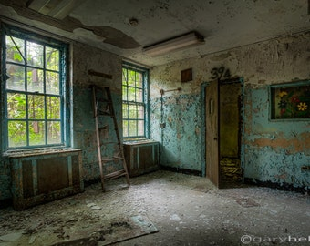 Abandoned Asylum, Waiting Room, Forgotten Places, Signed Print, Urban Exploration, Old and Decaying, Color Photograph