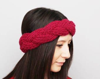 Knit earwarmer  breaded headband in deep red