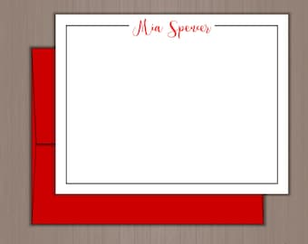 Personalized Note Card Set, Flat Note Cards, Personalized Stationery, Personalized Stationary, Thank you Notes, Teacher Gift, Gift For Mom