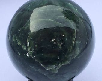 Dark green Nephrite Jade Sphere 58mm- 548grams