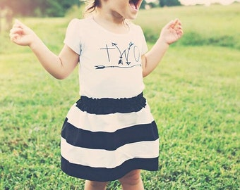 Girls Birthday outfit,  2nd birthday shirt,ANY AGE,  girls Birthday shirt and skirt