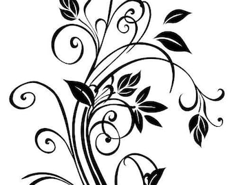 DECORATIVE FLORAL wall decal for home