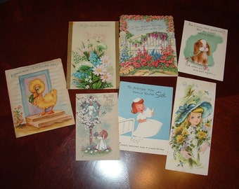 Antique Cards 1950s Assortment 7 Get Well Cards Used
